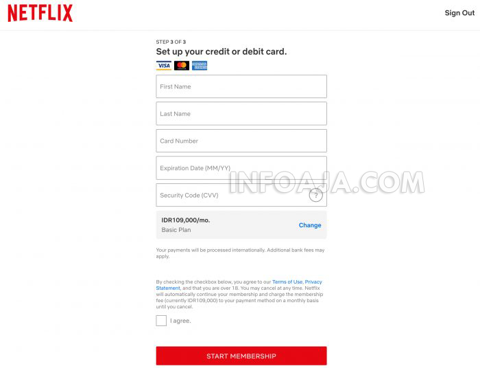 atur kartu kredit di Netflix