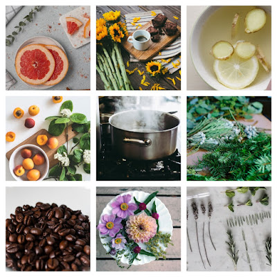 stove top potpurri ingredients in a collage