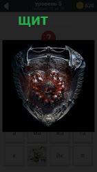 На картинке изображение овального вида щит для защиты во время боя на саблях