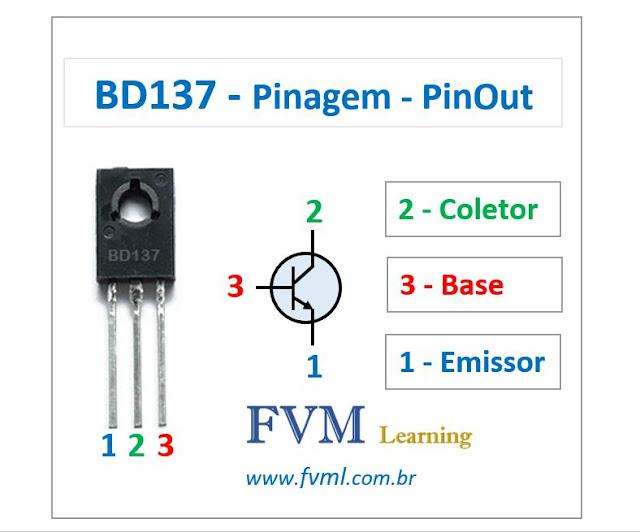Pinagem - Pinout - Transistor - NPN - BD137 - Características