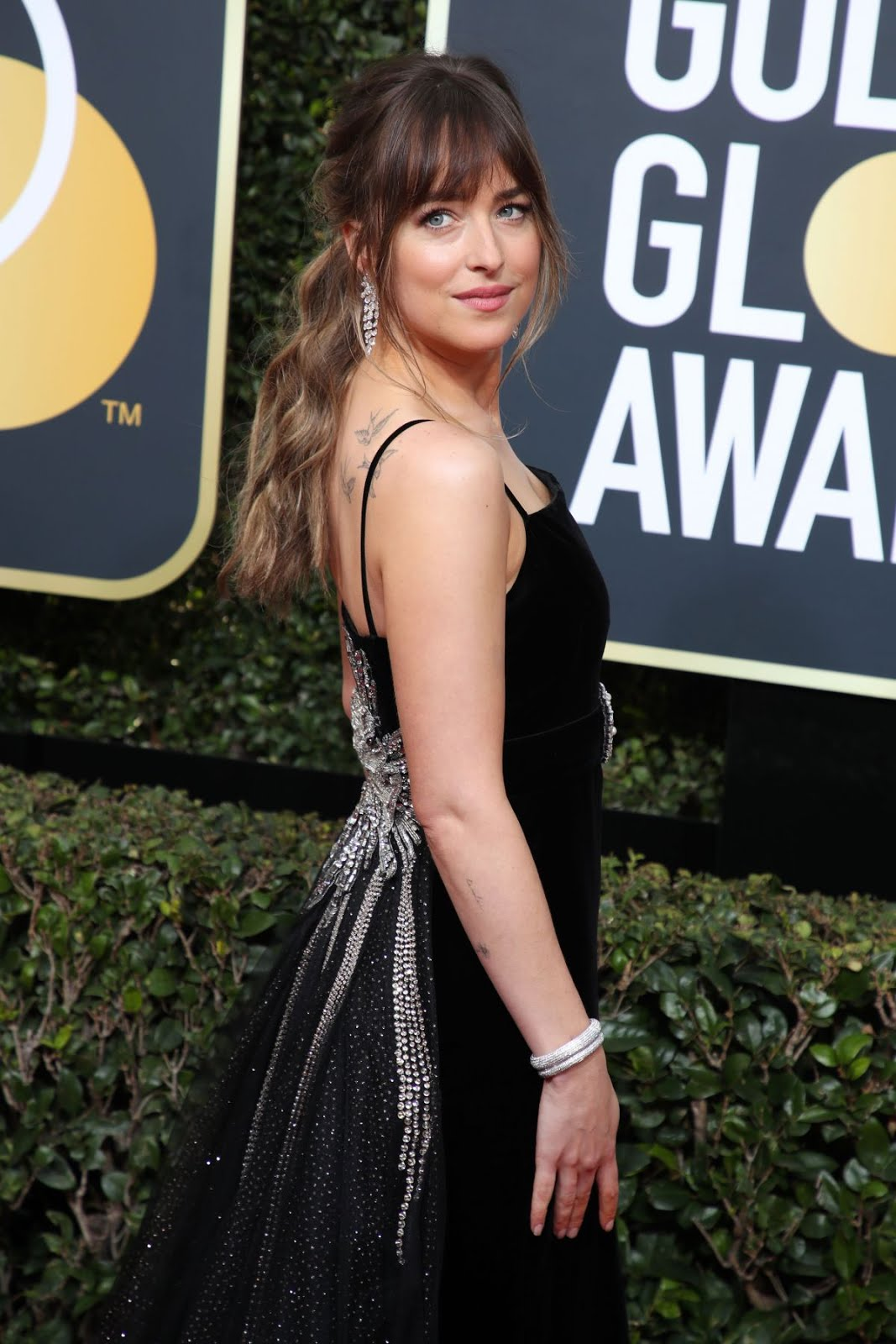 HD Photos of Sexy Dakota Johnson At 75th Annual Golden Globe Awards In Beverly Hills