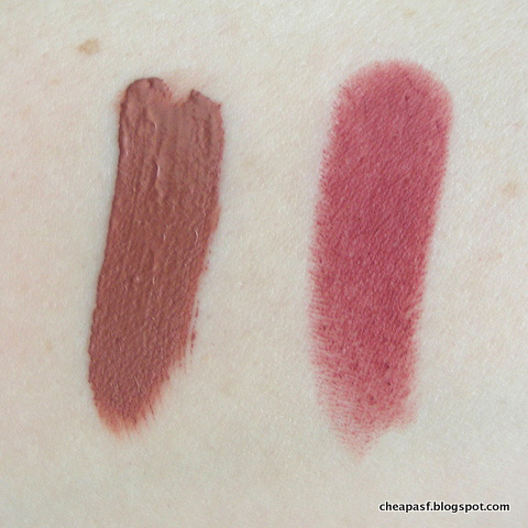 Swatches of Smashbox matte liquid lipstick in Stepping Out and Maybelline Touch of Spice