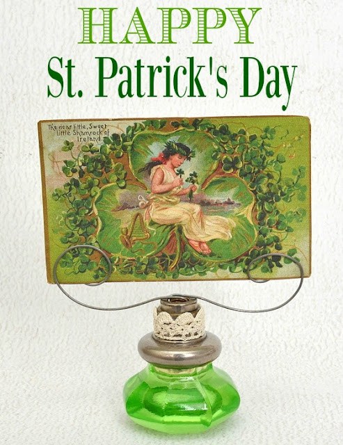 antique green glass doorknob St. Patrick's Day card holder