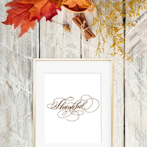 Thanksgiving Faux Calligraphy Wall Art