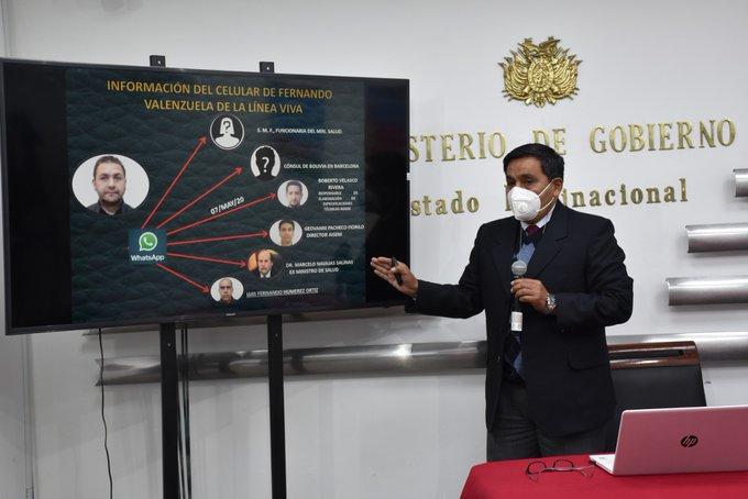 El director de la Felcc, Iván Rojas, exponiendo los nexos entre los investigados / MIN. GOBIERNO
