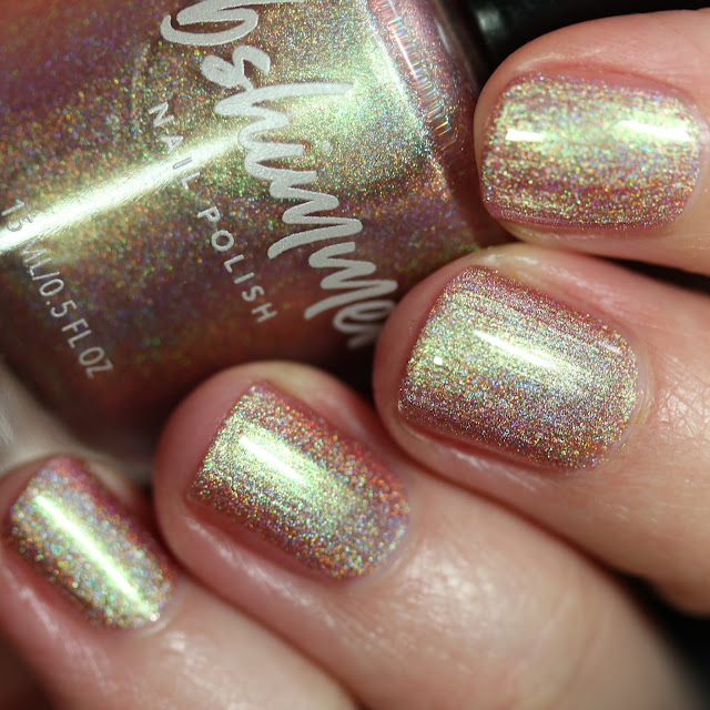 KBShimmer Lovers Coral swatch coral holographic nail polish with green shimmer