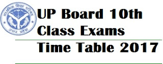 UP Board 10th Exams Time Table 2017