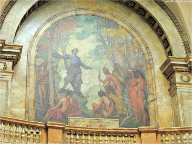 Mural de Henry Oliver Walker de John Eliot en el Memorial Hall