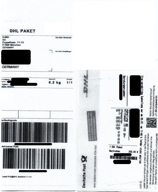 Scan: Paketzustellung EURO AG / Aug 2021