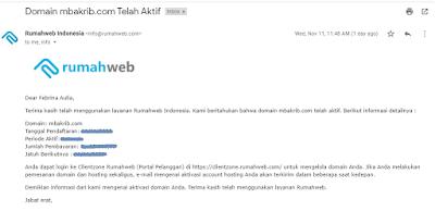 email notifikasi pembelian domain sukses