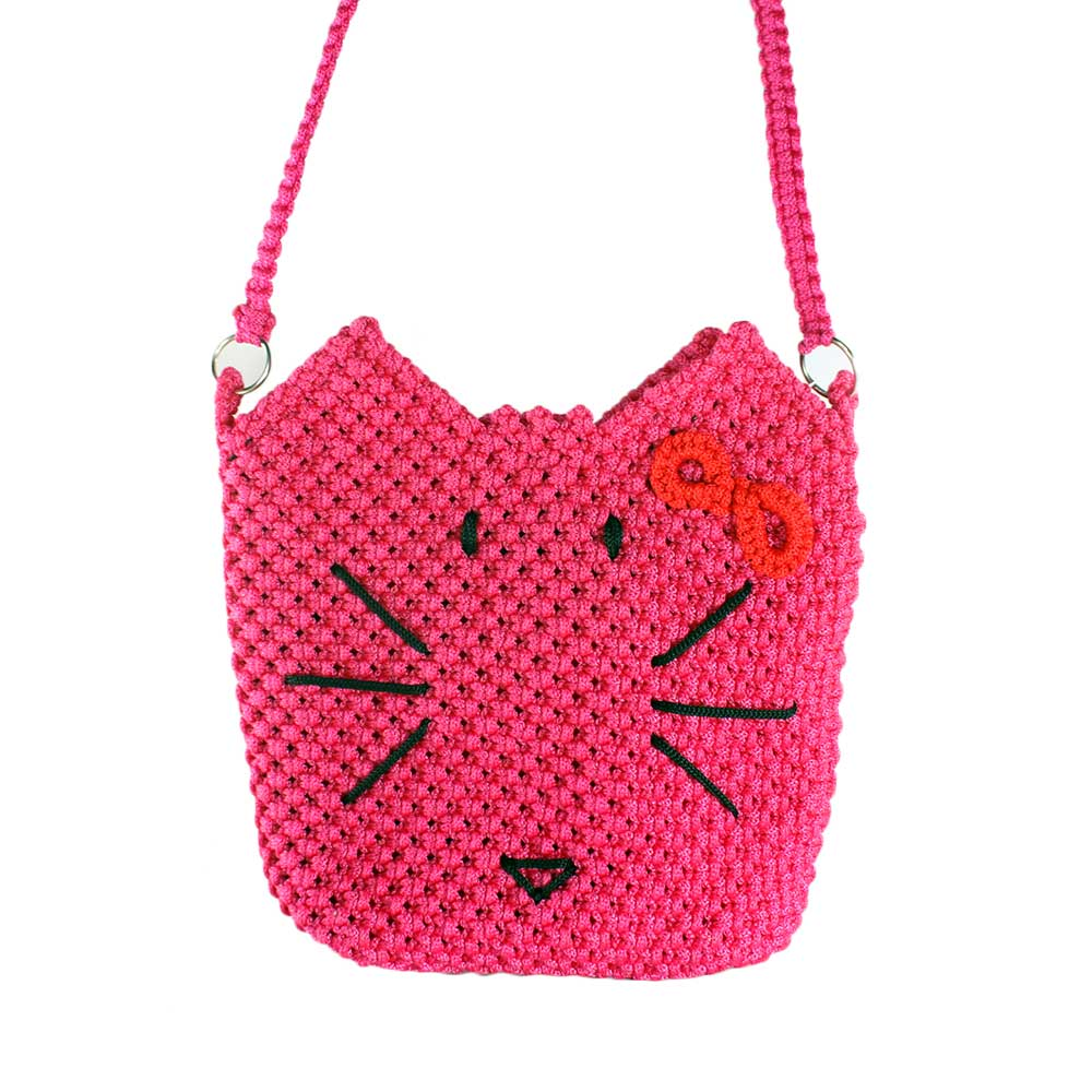 Tas Rajut Tali Kur (Macrame) Motif Hello Kitty
