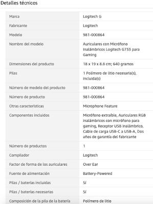 Características auriculares gaming Logitech G733