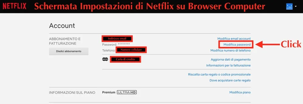 schermata impostazioni di netflix su browser computer pc e mac