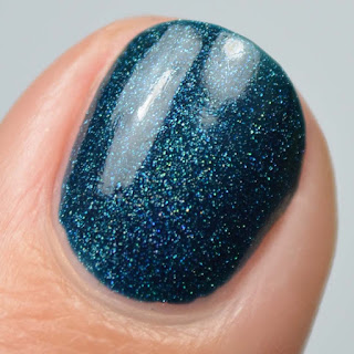 dark blue holographic nail polish