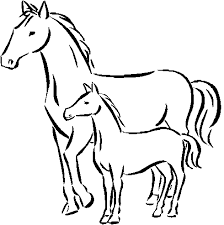 Mom Horse And Pony Coloring Sheet For Kids