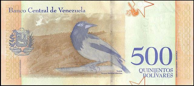Venezuela Currency 500 Bolivares Soberanos banknote 2018 Venezuelan troupial