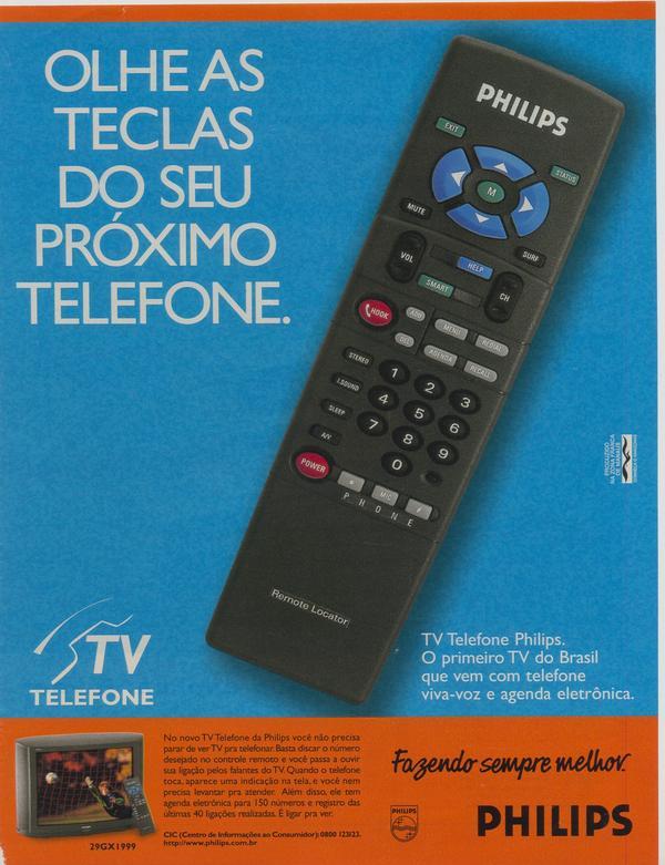 Anúncio antigo da Philips promovendo seu aparelho de TV com telefone em 1997