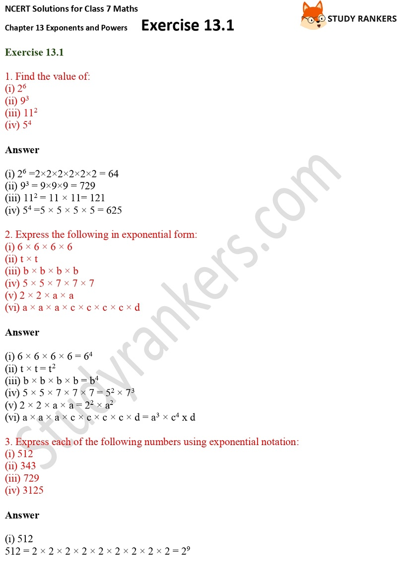 NCERT Solutions for Class 7 Maths Ch 13 Exponents and Powers Exercise 13.1 Part 1