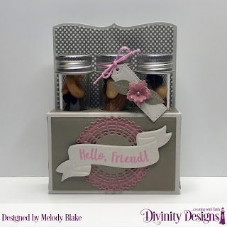 Stamp/Die Duos: Wavy Words, Custom Dies: Test Tube Trio, Bitty Blossoms, Filigree Circles, Paper Collection: Shabby Pastels