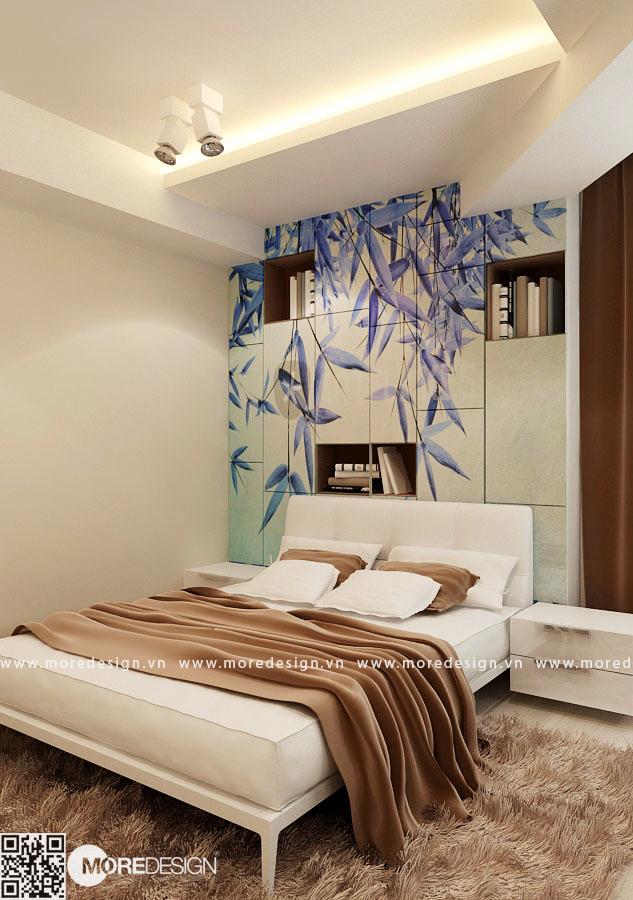 Nội thất phòng ngủ master tuyệt đẹp với hệ thống kệ tủ đầu giường trang trí với tranh dán tường 3D