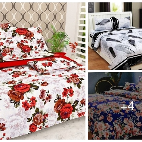 Poly Cotton Printed Double Bed Sheet
