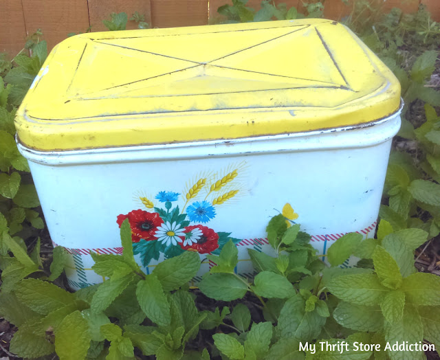 repurposed vintage bread box planter