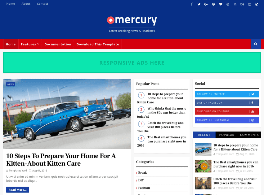 Mercury News Portal Blogger Template