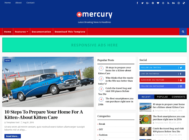 Download Free Premium Mercury News Portal Blogger Template
