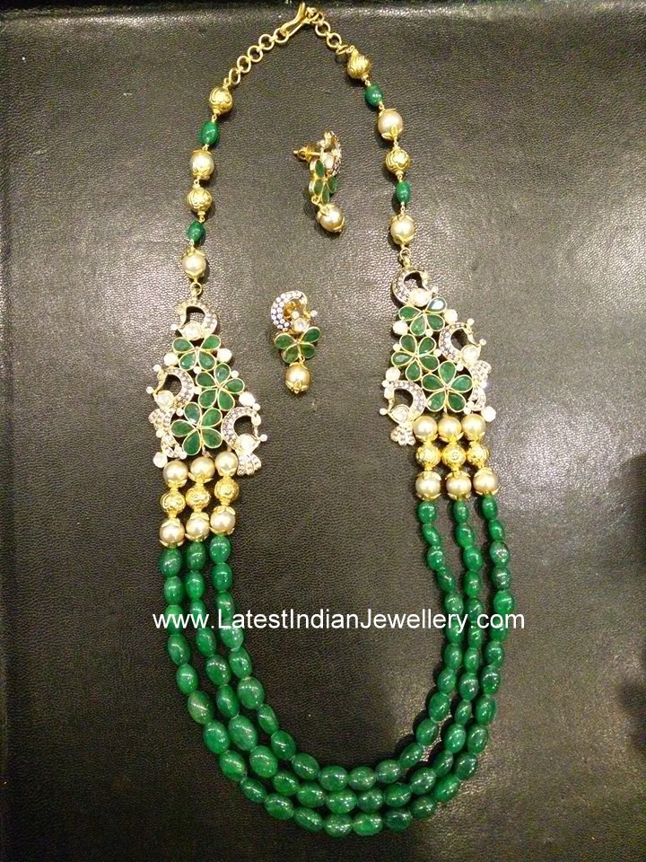 3 Step Emerald Beads Necklace