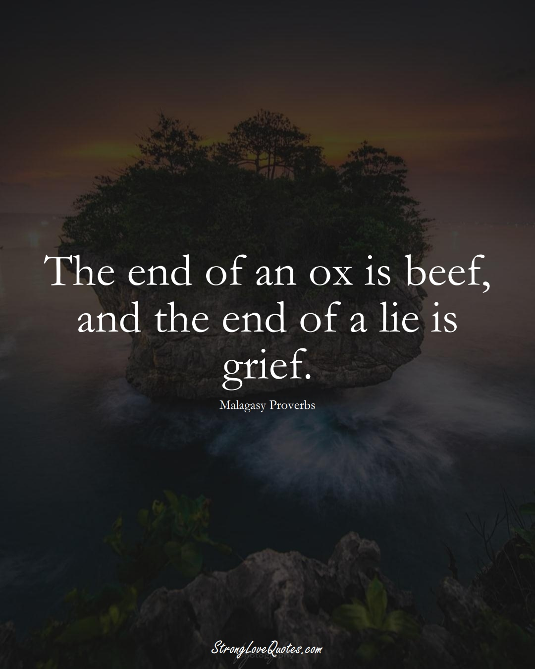 The end of an ox is beef, and the end of a lie is grief. (Malagasy Sayings);  #AfricanSayings