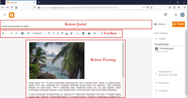 Kolom Posting Blogger