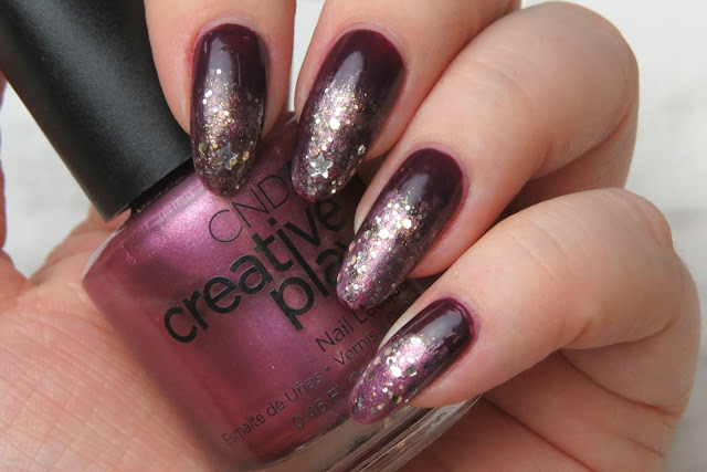 CND Creative Play Polish RSVPlum Naughty or Vice Stellarbration Easy Holiday Party Nail Art Ombre Glitter