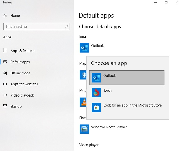 set outlook as default app