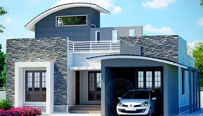 Stunningly designed 2 bedroom kerala home plan in 750 sq for Car porch design in kerala