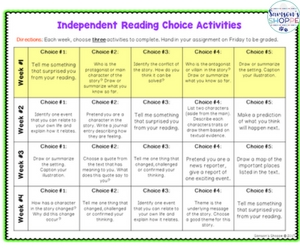 choice reading calendar for grades 5, 6, 7, 8