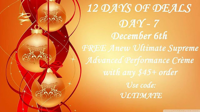 December 6: Day 7: FREE Anew Ultimate Supreme Advanced Performance Crème with any $45+ order ($50 value) Use Code: ULTIMATE at https://maryvjjj1.avonrepresentative.com/