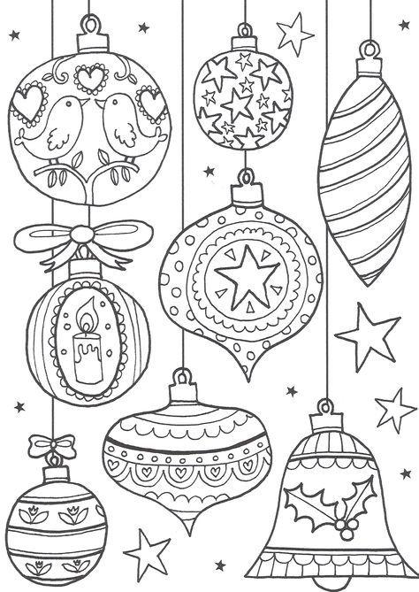 Tranh tô màu đèn Noel dễ thương
