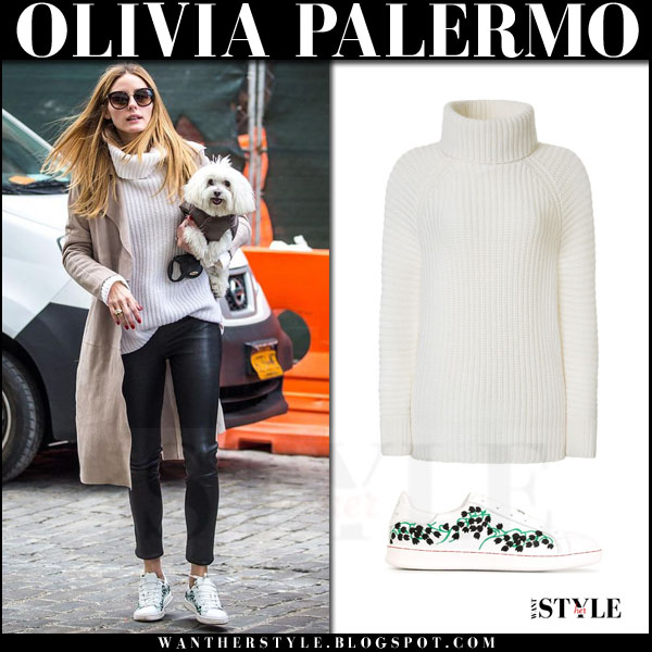 Olivia Palermo in beige trench, white knit iris von arnim sweater leather pants and moncler gamme rouge sneakers what she wore