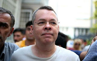 Andrew Brunson arrives at his home in Izmir, Turkey, on July 25. PHOTOGRAPHER: EMRE TAZEGUL/AP PHOTO