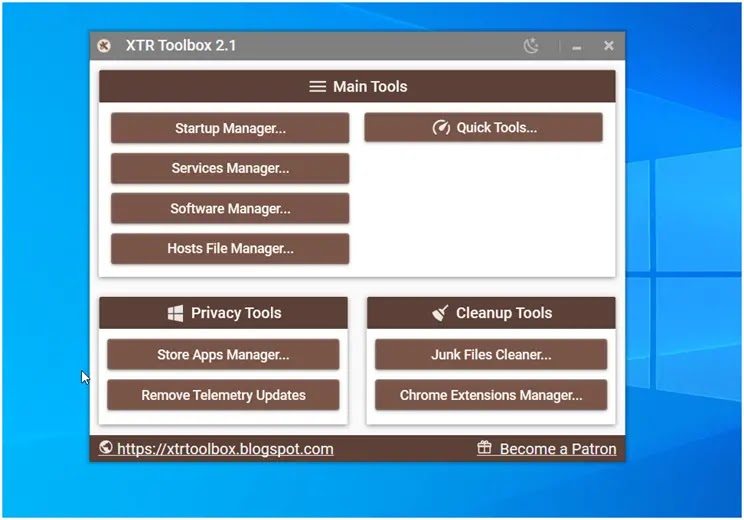 XTR Toolbox  : Ευέλικτο φορητό λογισμικό για καθαρισμό και βελτιστοποίηση των Windows.