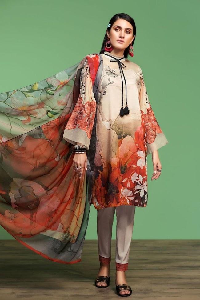 Nishatlinen Embroidered Beige Lawn Suit