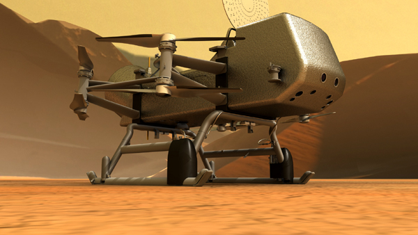 An artist's concept of NASA's Dragonfly rotorcraft on the surface of Saturn's moon Titan.