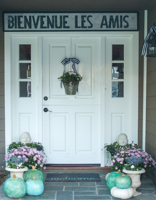 Fall decor on charming French inspired porch - Gwen Moss