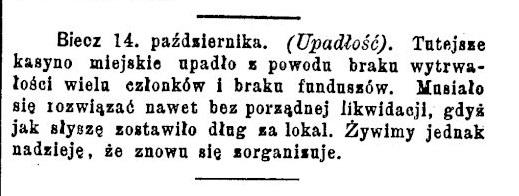 Biecz kasyno 1885