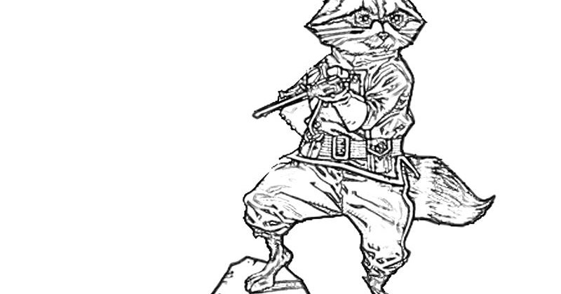 Rocket Raccoon Coloring Pages For Kids
