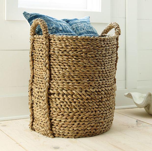Tall Narrow Storage Basket: Bromeliad: Seagrass Baskets