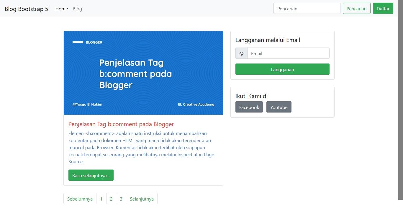 Konten Utility API Bootstrap 5
