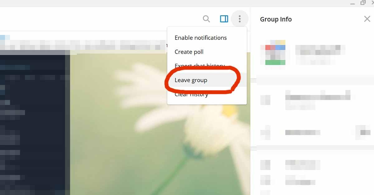 Как выйти из группы или чата Telegram на компьютере