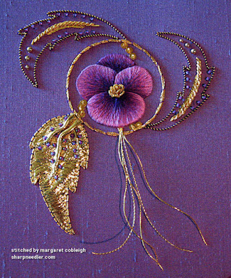 Completed goldwork with thread painted pansy. (Royal School of Needlework, goldwork with pansy)
