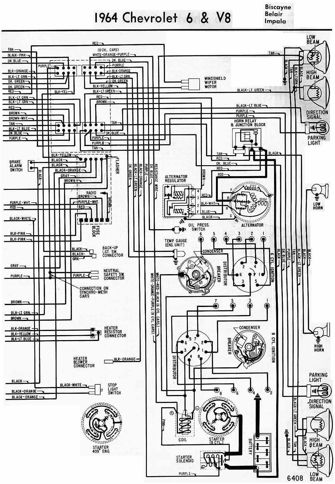 electrical wiring diagram of 1964 chevrolet 6 and v8